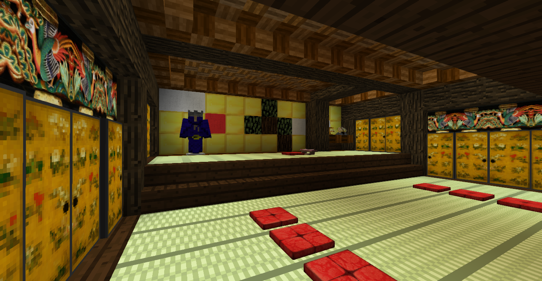 マインクラフトで作った御殿の大広間