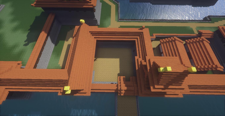 マイクラで作った和風城の枡形を上からみたところ