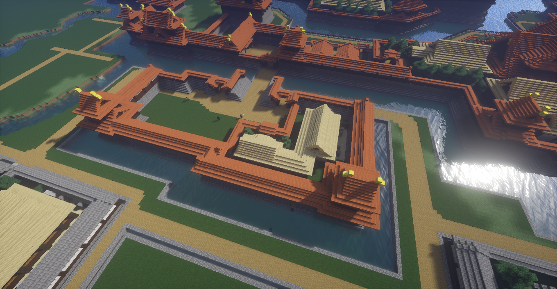マインクラフトで作った和風城の大型馬出し