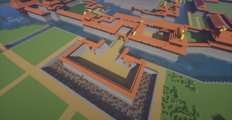 マインクラフトで作った和風城の小さめの馬出し