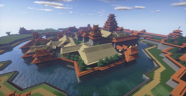 マインクラフトで作った和風城の本丸