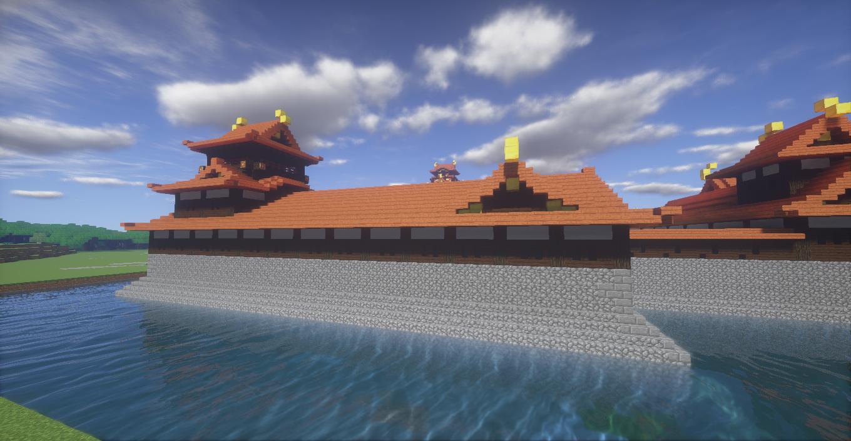 マイクラで作った城の三階建ての櫓